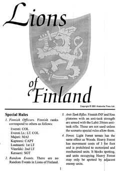 Lions of Finland boxcover